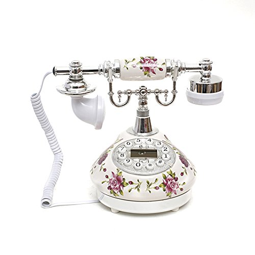 White Rose Flower Ceramic Retro Vintage Antique Style Push Button Dial Desk Telephone Phone Home Living Room Decor