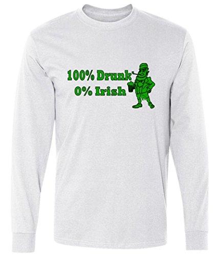 100% Drunk 0% Irish Funny Beer St. Patrick's Day long sleeve T-Shirt