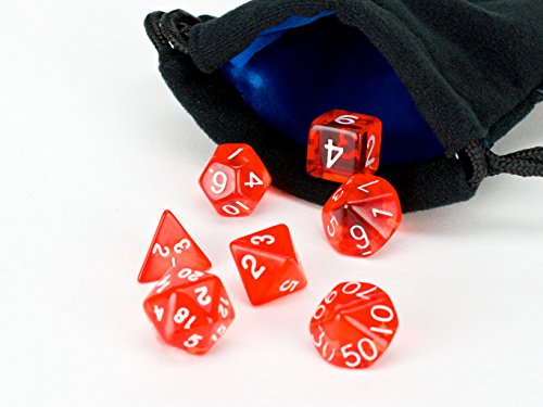 Red Translucent Polyhedral Dice Set | 7 Piece Set | PRISTINE Edition | FREE Carrying Bag | Hand Checked Quality | Money Back Guarantee