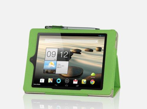 "IVSO® Acer Iconia A1-810 7.9"" Leder Hülle Case Folio Tasche Cover mit Ständer + 1Stück Kapazitive Stylus / Taster Touch Screen Handy Tablet Pen für Acer Iconia A1-810 Tablet PC 8GB/16GB(Für Acer Iconia A1-810, Grün)"