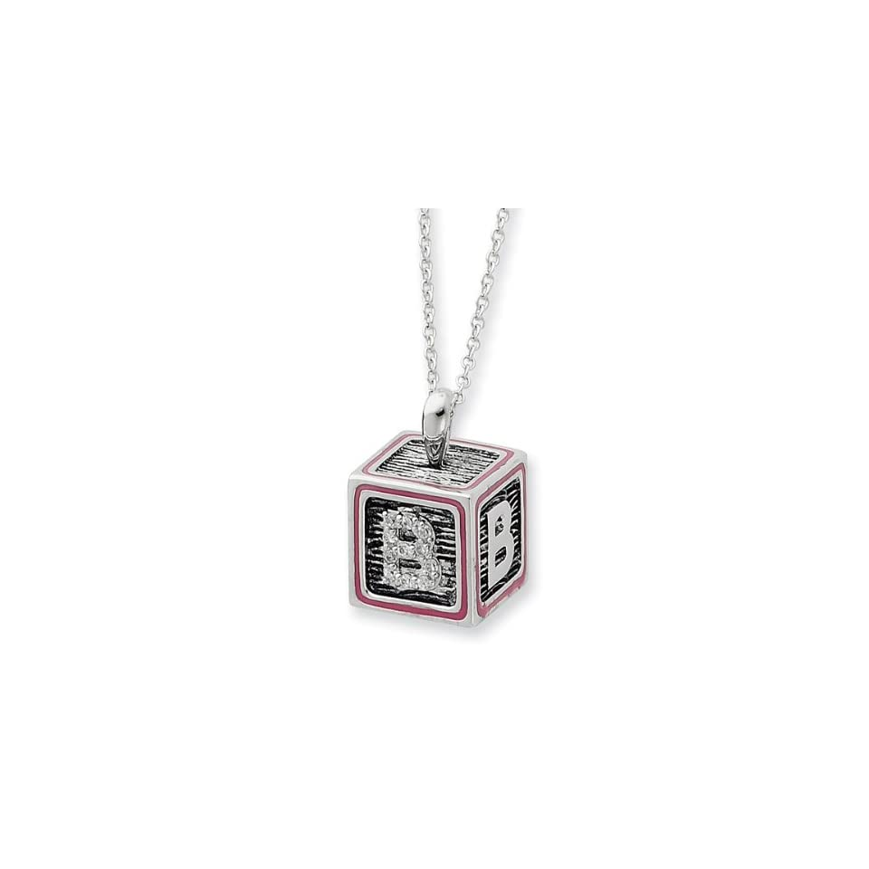Sterling Silver Letter B Block with Pink enamel 18 Inch