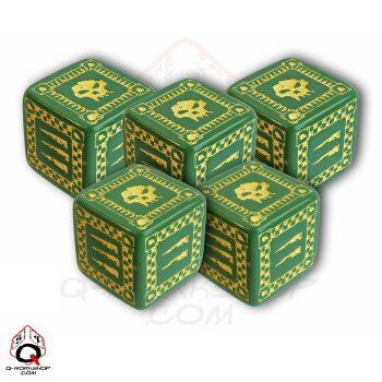 Q-Workshop: Five d6 Dice - ORC Battle Dice (Green & Yellow) magic props listen dice