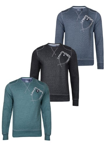 Mens CrossHatch Crew Neck Sweatshirt. Style Name - Farcry. Colour - Mid Marl . Size - Small