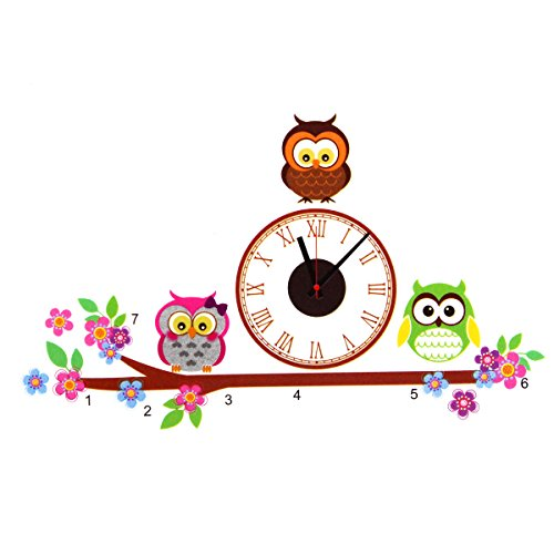 Owl DIY PVC Art Adhensive Wall Clock Home Living Room Bedroom Modern Decor Decal Wall Stickers