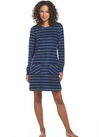 Jockey Women's Sleepwear Sherpa Sleepshirt, midnight stripe, S