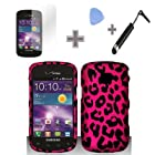 (4 Items Combo : Case - Screen Protector Film - Case Opener - Stylus Pen) Rubberized Hot Black Pink Leopard Snap on Design Case Hard Case Skin Cover Faceplate for Samsung Illusion / Galaxy Proclaim i110 (Verizon / Straight Talk)