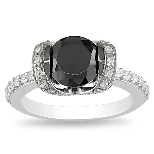 Sterling Silver 3 1/2 CT TGW Round Black Cubic Zirconia White Cubic Zirconia Engagement Ring