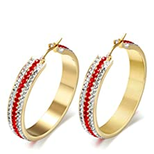 buy Round Shape Stainless Steel Three Rows Cubic Zirconia Red And White Women Earrings By Anazoz Jewelry