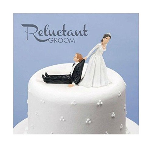 Humorous Cake Topper Reluctant Groom Wedding Bride Marriage Funny Humor Top