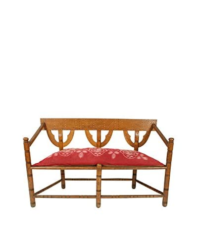 Swedish Munkstol Bench, Brown/Red/Tan