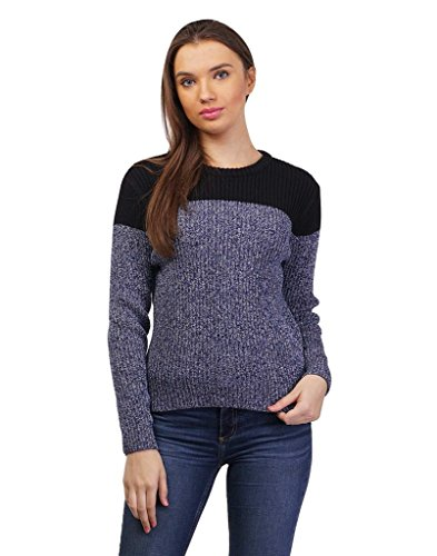 Women's Round Neck Full Sleeve Thick Ribbed Block Striped Cotton Sweater