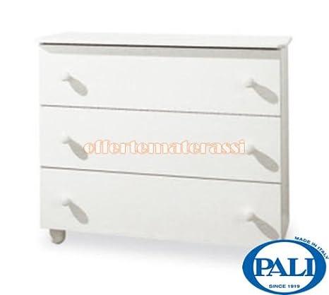 Como Pali Eco bianco in legno 3 cassetti infanzia arredamento cameretta (bianca)