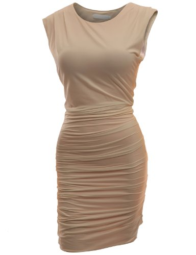 Doublju Women Fitted Dress with Sexy Side Zipper Point