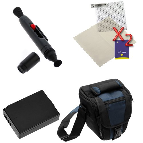 For Canon Digital SLR EOS 1100D Accessories Kit: Black DLSR Camera Pouch Nylon Case + LP-E10 Battery + Lens Pen + LCD Screen Protector(2 Pack) By GTMax