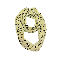 Women's Nautical Infinity Scarf in Ivory White with Black Anchors and Stars