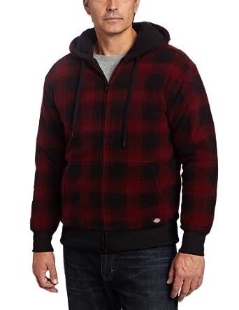 (1.7折)迪凯斯Dickies Sherpa Lined Polar男式格纹抓绒连帽外套石墨色$9.44
