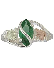 buy St. Helen'S Green Obsidianite Marquise Sterling Silver Ring, 12K Green And Rose Black Hills Gold Motif, Size 7