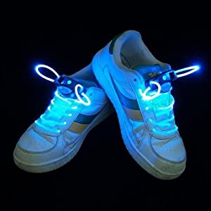 e4worlds Magically LED Flashing Light Up Shoe laces Disco Party Glow Shoelaces (Blue)