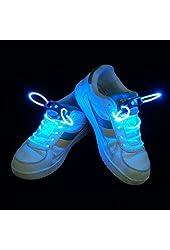 e4worlds Magically LED Flashing Light Up Shoe laces Disco Party Glow Shoelaces (Blue)