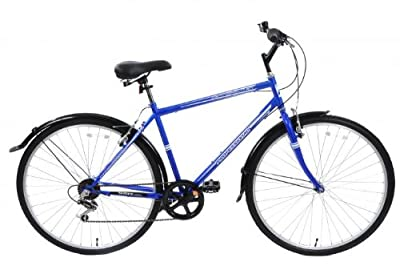 "Cheapest Professional Metropolitan Mens Hybrid City Bike 19"" Frame With Mudguards 6 Speed Blue"
