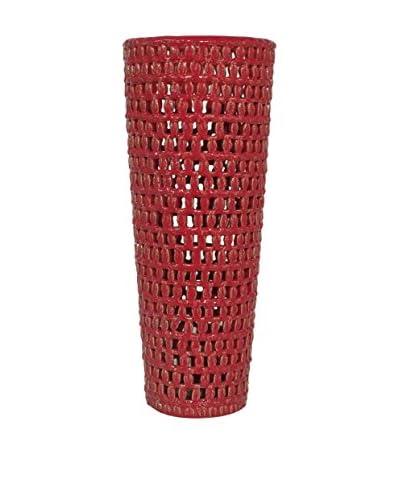 Three Hands Tall Ceramic Red Vase