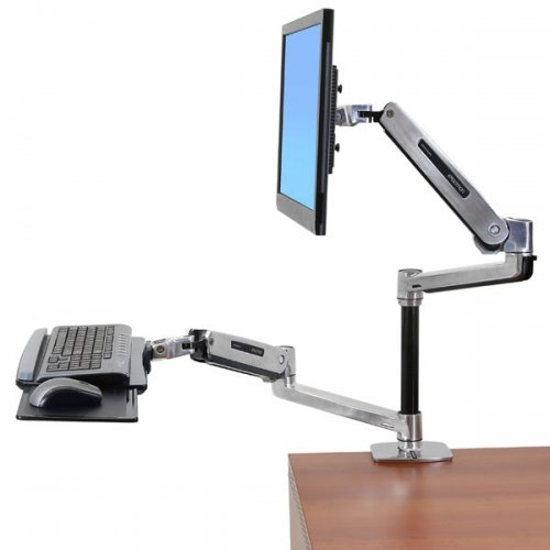 Ergotron 45-405-026 Workfit-Lx Sit-Stand Desk Mount Positions Keyboard And Monitor