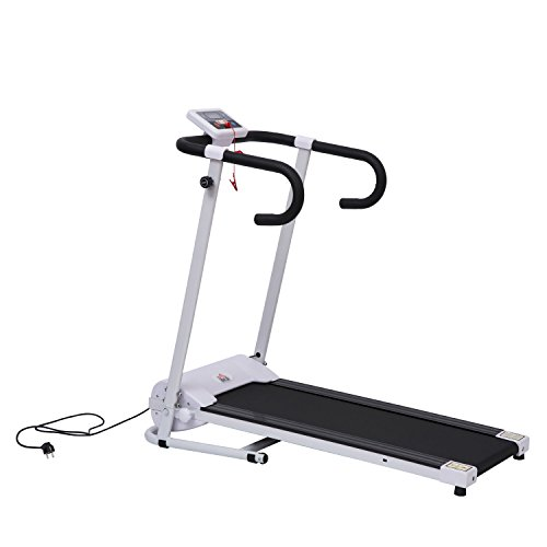Elektrisches Laufband Fitnessgerät Klappbarer Heimtrainer mit LCD-Display 110 kg Belastung 500 W (schwarz-weiß)