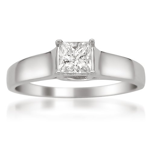Cheapest 14k White Gold Princess-cut Diamond Solitaire Engagement Ring (3/8 cttw, H-I, I1)