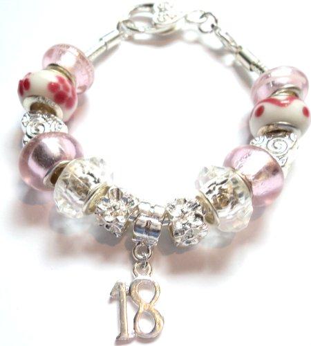 18th Birthday Pink Pandora Style Charm Bracelet - Ideal Birthday Present