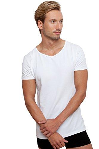 T-shirt Basic Weiß Herren V-Neck Tief bianco Medium