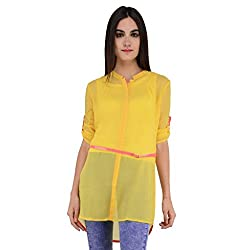 Terquois Plain georgette Shirt (With Inner and Belt)(591_Yellow_L)