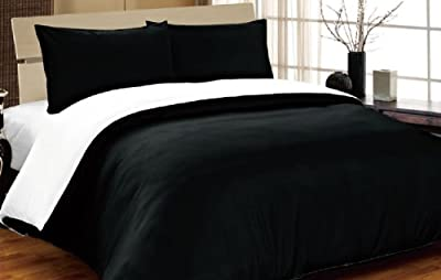Complete Double, Reversible Black/ White, Duvet Cover and Fitted Sheet Bed Set by VICEROY BEDDING