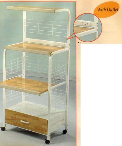 White Kitchen Rolling Microwave Cart With Power Strip (Microwave Cart Grounded compare prices)