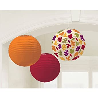 Amscan - Fall Paper Lanterns, Multi-colored