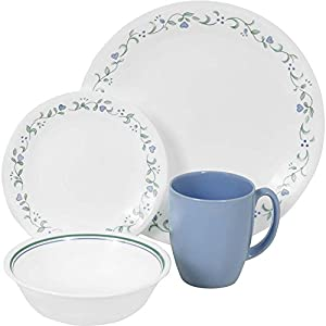 dinner set service for 4 green blue kitchen home