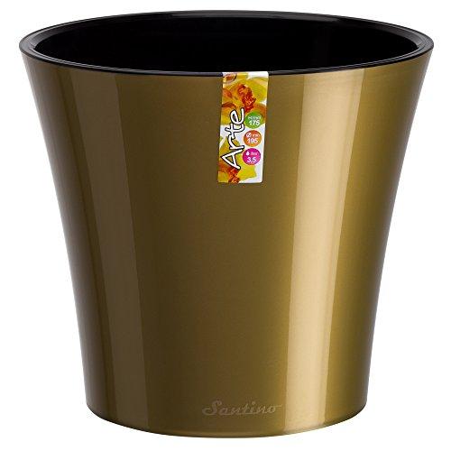 Santino Self Watering Planter Arte 8.6 Inch Gold/Black Flower Pot (Large Decorative Flower Pots compare prices)