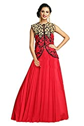 FINIVO FASHION Red Net Embroidered Lehenga Choli