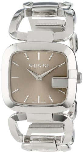 Gucci Women's YA125402 G-Gucci Medium Brown Dial Steel Bracelet Watch
