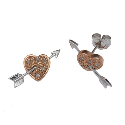 9ct Two-Colour Red  &  White Heart/Arrow Stud Earrings
