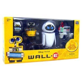 Disney Pixar WallE Movie Exclusive Basic Figure 4Piece Gift Set with DifibrillatorBot Walle, Eve, DefibrillatorBot MO