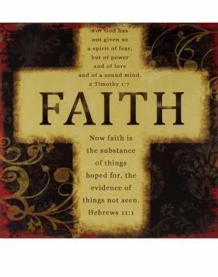 Sign Faith Cross W/led Light