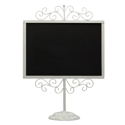 Stylish Vintage White Metal Frame Semi-Permanent Chalkboard Display Sign Stand