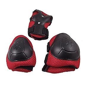 Sourcingmap Lot de 3 paires de protections de roller/patin à glace pour enfant Noir/rouge