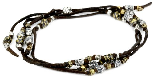 M.Cohen Hand made Designs Silver and Brass Skulls On Multi Wrap Brown Leather Bracelet