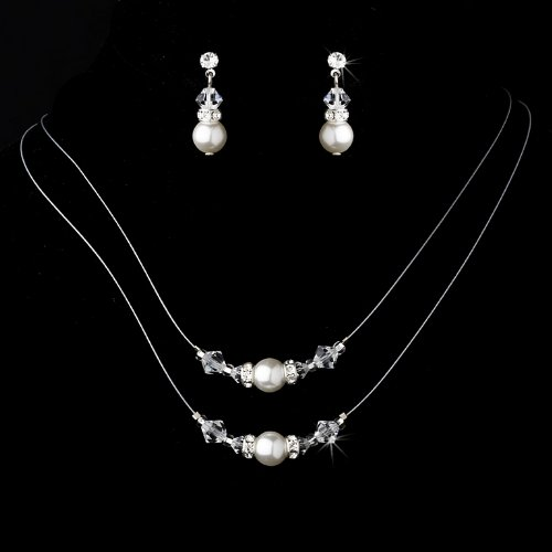 Silver White Bridal Wedding Necklace Earring Set