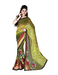 Fabdeal Indian Designer Faux Georgette Olive Green Coloured Printed Saree (NVESR8844ADP)