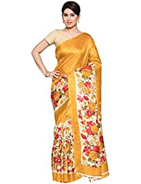 Oomph! Women's Printed Art Silk Sarees - Marigold Yellow