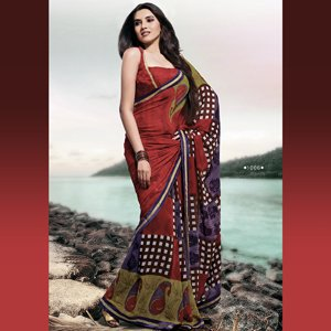 Tiaraa Sunshine Light Red Weightless Georgette Saree (1006) | Color Multicolour