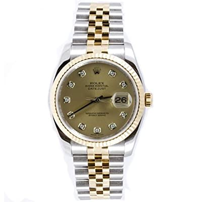 Rolex Mens New Style Heavy Band Stainless Steel & 18K Gold Datejust Model 116...