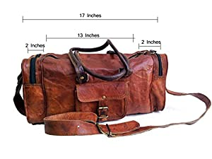 """17"""" Inch Men's Pure Leather Light Weight Small Weekend Travel Sports Gym Duffle Duffel Bag from Jaald"""